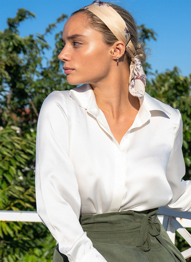 Silk and Cashmere Gömlek Beyaz
